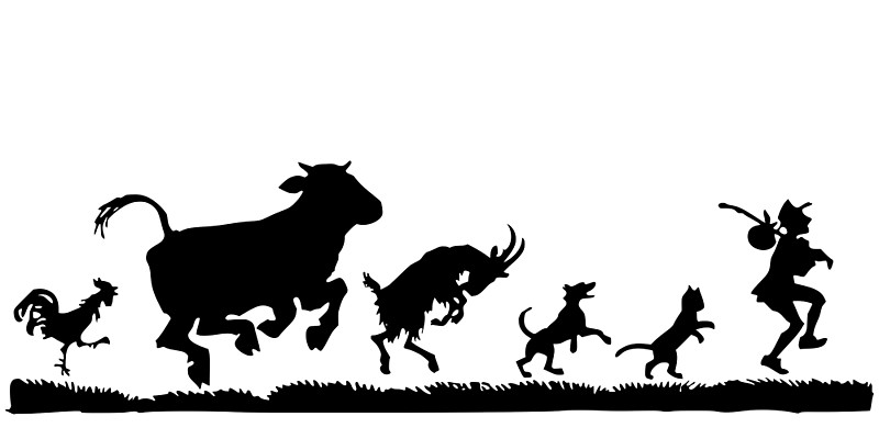 800x400 Funny Dancing Animals Cow Chicken Goat Silhouette By Pdgraphics