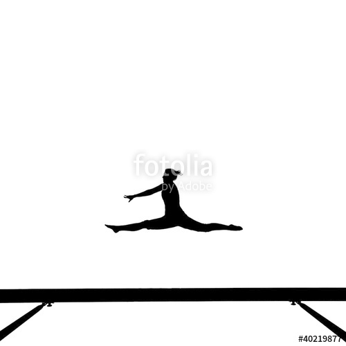 500x500 Silhouette Of Gymnast Doing The Splits Jump On Balance Beam Stock