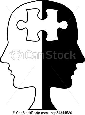 347x470 Jigsaw Head Silhouette Vector Illustration