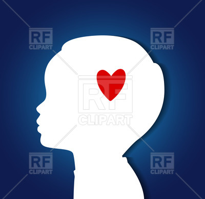 400x388 Silhouette Of Child Head With Heart Royalty Free Vector Clip Art