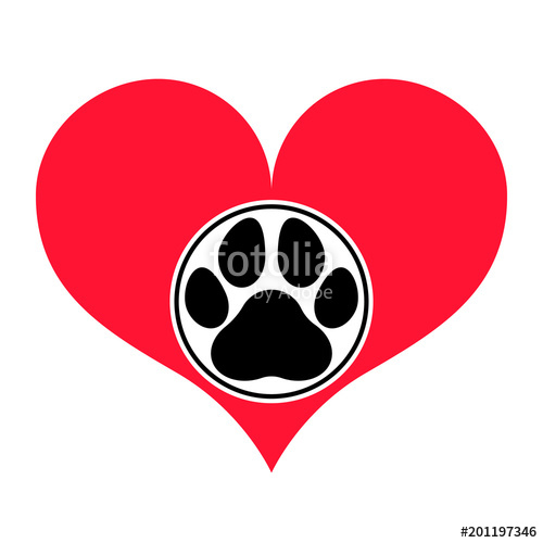 500x500 Red Heart Silhouette With A Pawprint In A Frame On It. Isolated