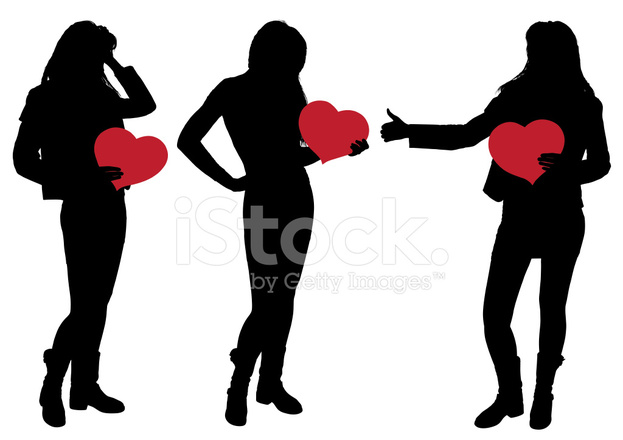 623x440 Silhouette Of A Girl Holding A Heart Stock Vector