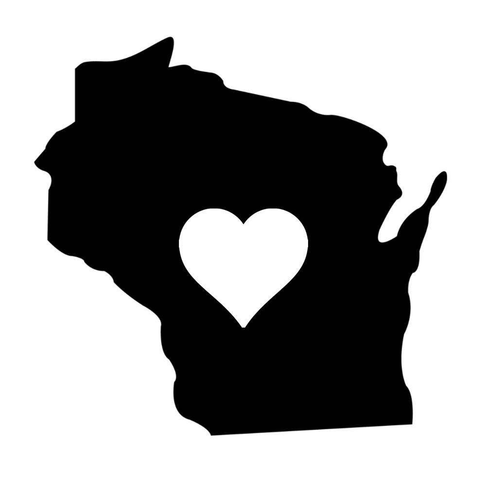 1002x1002 Wisconsin Heart State Silhouette Vinyl Sticker Car Decal