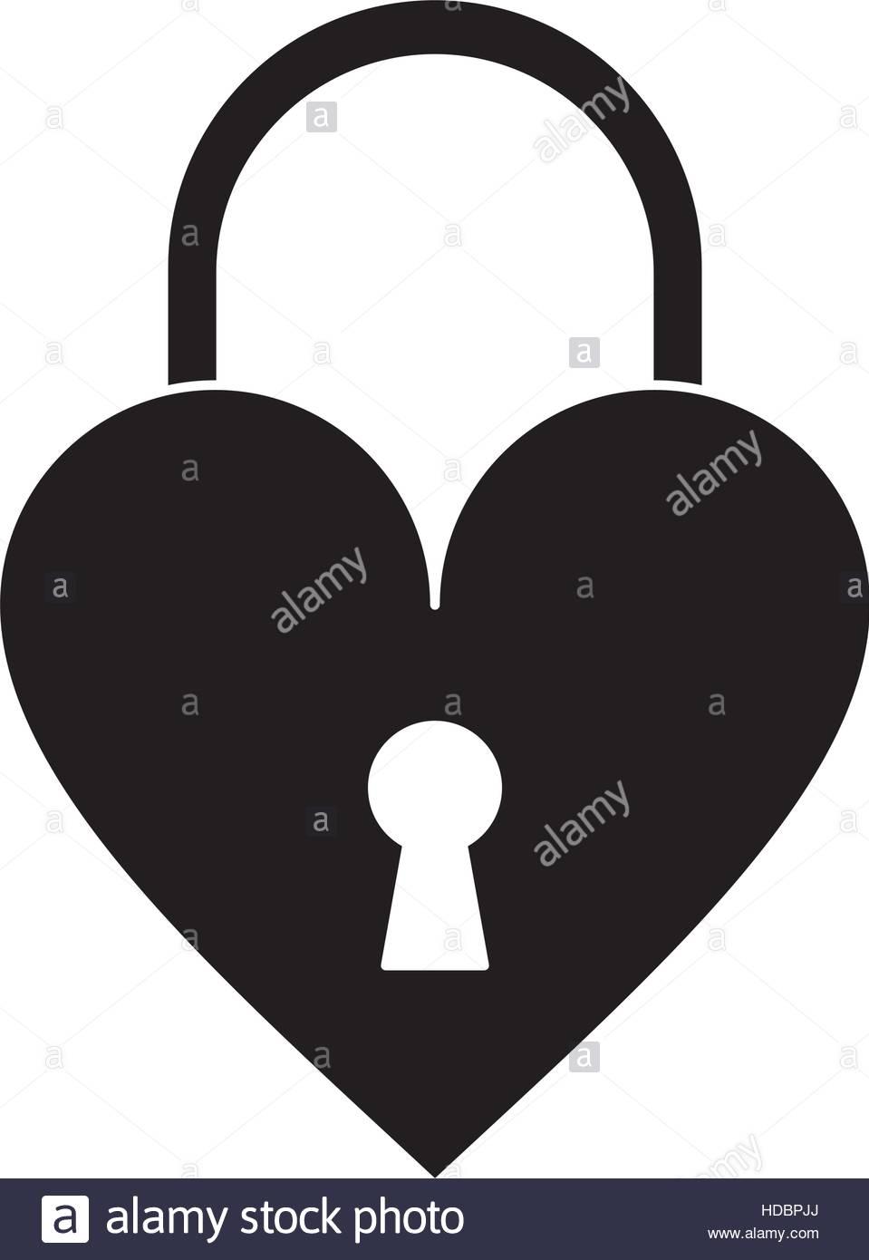959x1390 Silhouette Padlock Shaped Heart Loved Stock Vector Art
