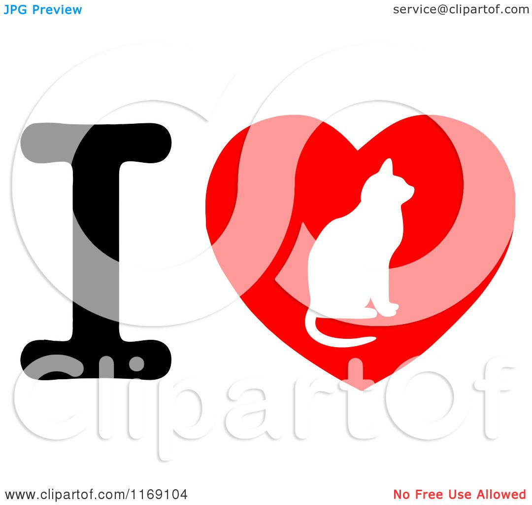 1080x1024 Cartoon Of A Cat Silhouette On A Heart With The Letter I