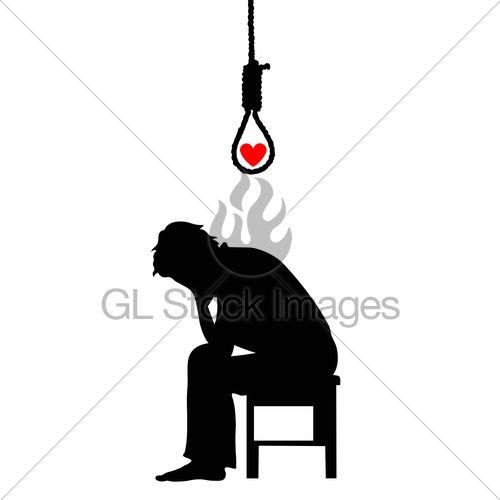 500x500 Depression. Silhouette Of A Man With A Heart Gl Stock Images