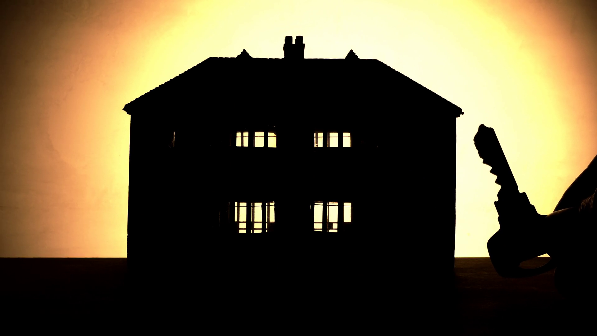 1920x1080 Home Ownership Or Rental Concept. Silhouette Of A Model House