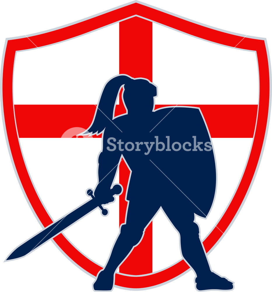 932x1000 English Knight Silhouette England Flag Retro Royalty Free Stock