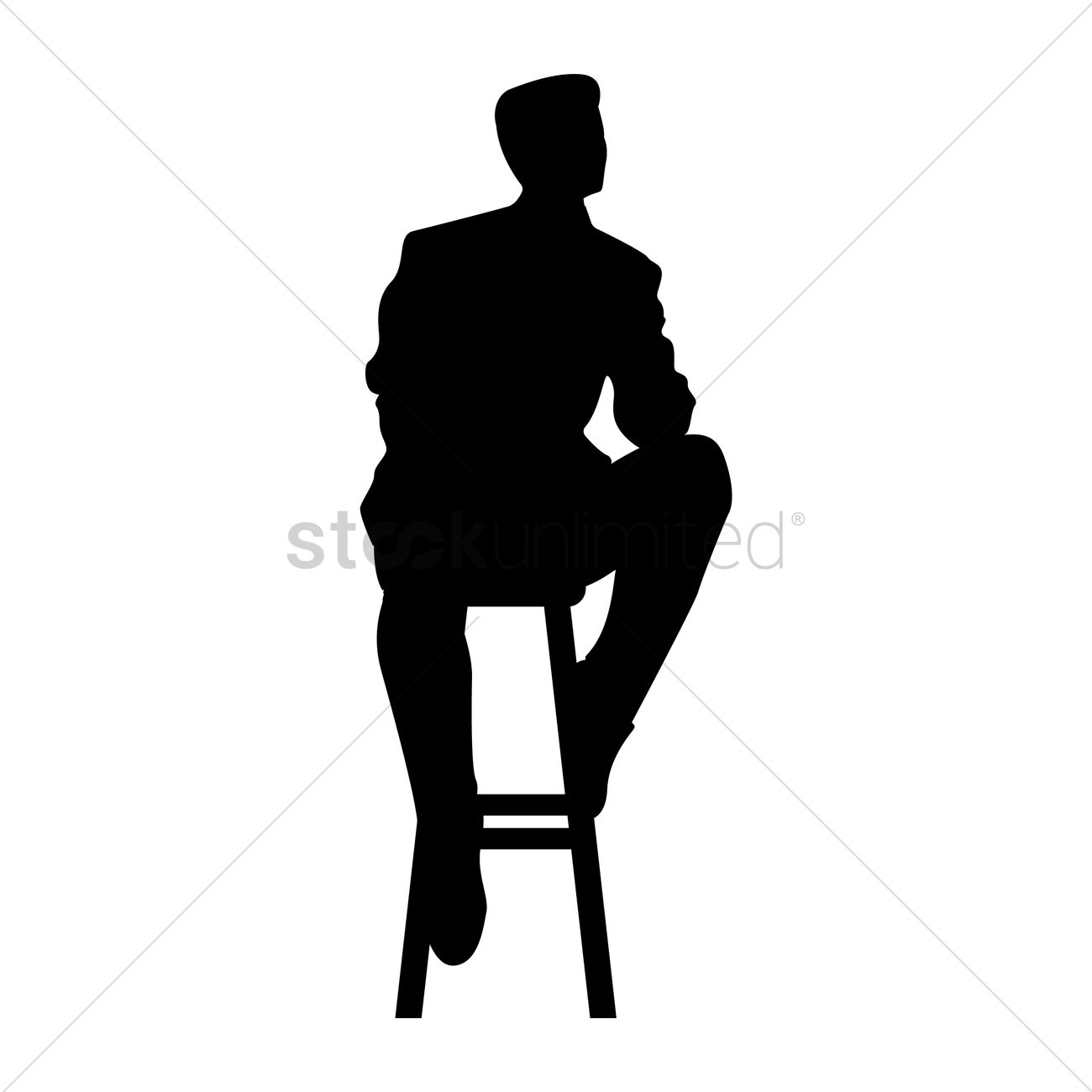 1300x1300 Silhouette Of Man Sitting On Stool Vector Image