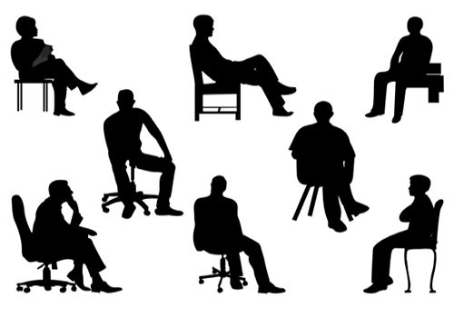 500x350 Sitting Silhouette People