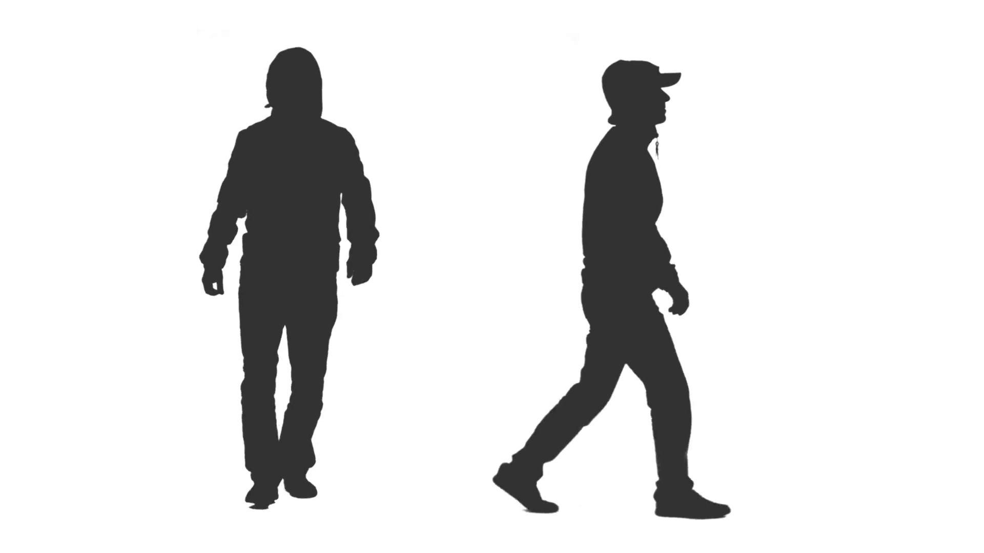 1920x1080 Silhouette Hooded Man Walking On Transparent Background, 2 In 1