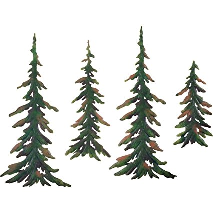 425x425 Evergreen Pine Tree Metal Wall Decor Set Of 4 Home