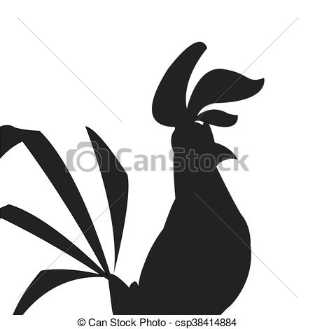 450x470 Rooster Cartoon Silhouette Icon. Simple Flat Design Rooster