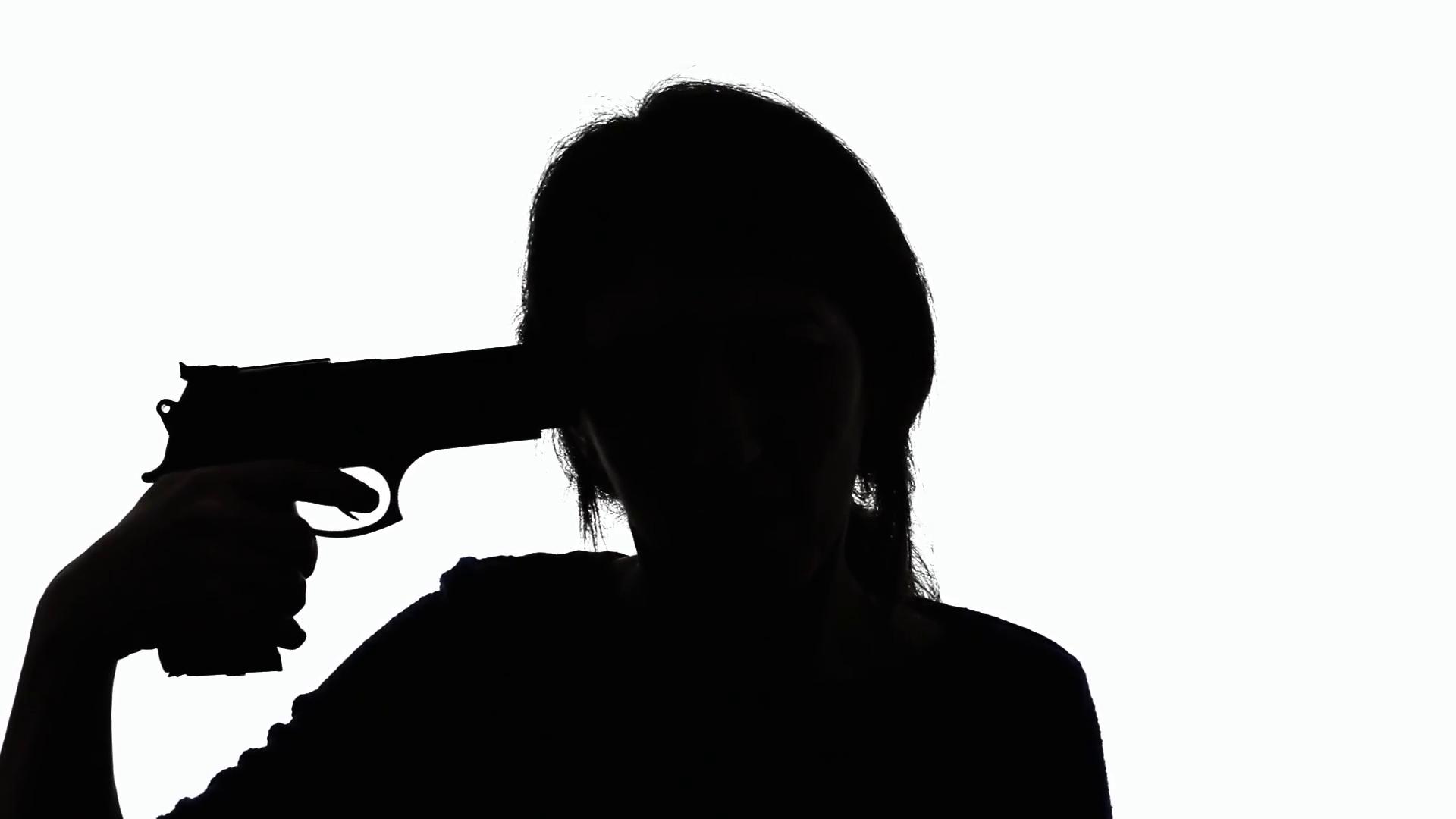 1920x1080 Silhouette Woman Gun Suicidal Red. Sad Depressed Woman Taking