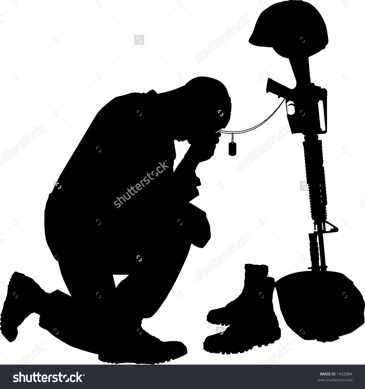 1500x1595 Silhouette Of Soldier Shooting With Gun Vector Image