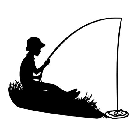 450x450 Silhouette Squirrel Fishing Clipart