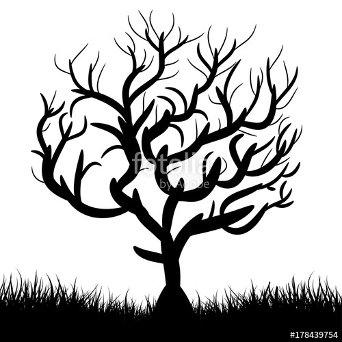 500x500 Silhouette Of Tree Without Leaves (Autumn, Winter), Cartoon On