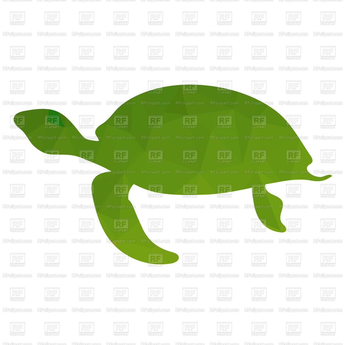 1200x1200 Green Silhouette Of Turtle Isolated On White Background Royalty