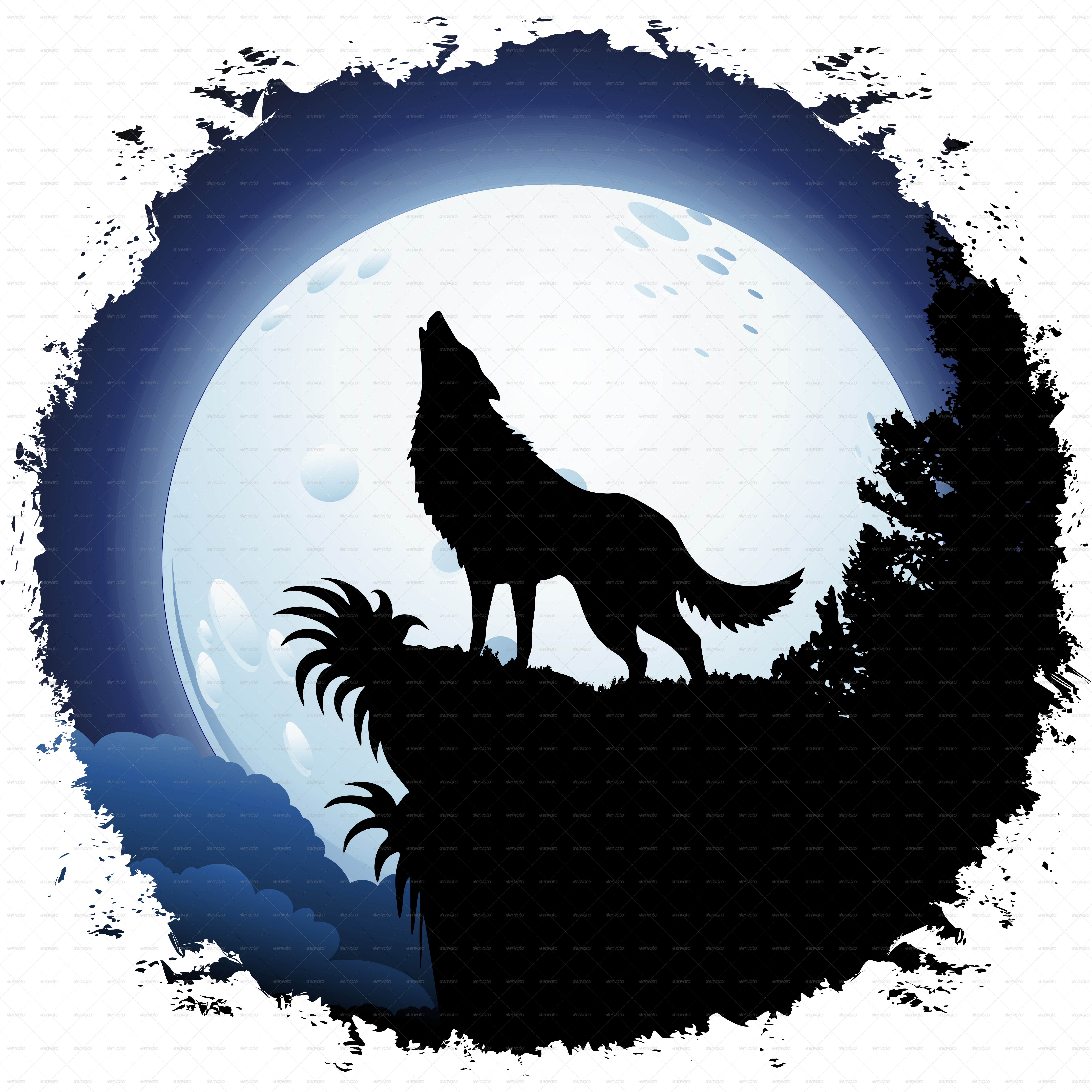 Silhouette Of A Wolf Howling at GetDrawings | Free download