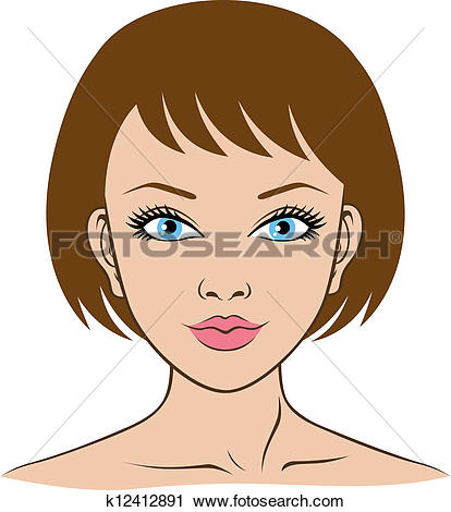 414x470 Female Face Clipart