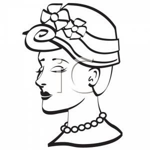300x300 Black And White Silhouette Of A Woman Wearing A Hat And Pearls