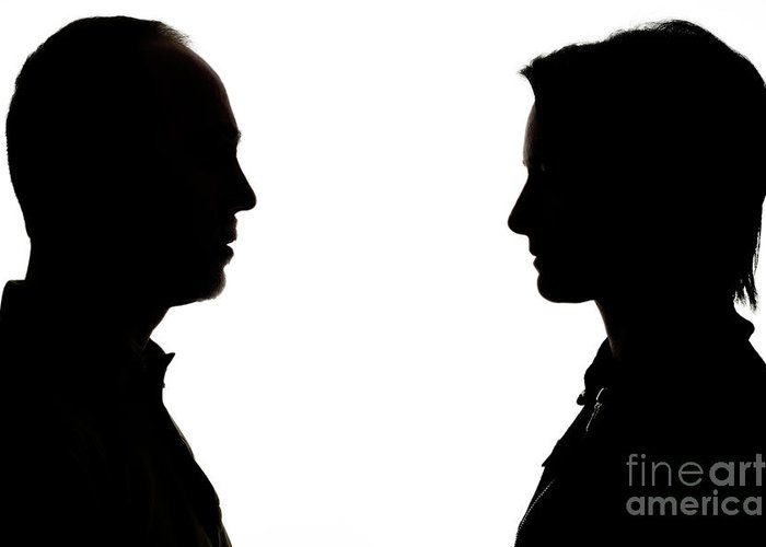 700x500 Silhouette Of Man And Woman Face To Face Greeting Card For Sale By