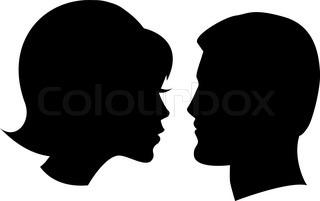 320x201 Woman Face Profile. Female Head Silhouette. Haircut Hair Of Medium