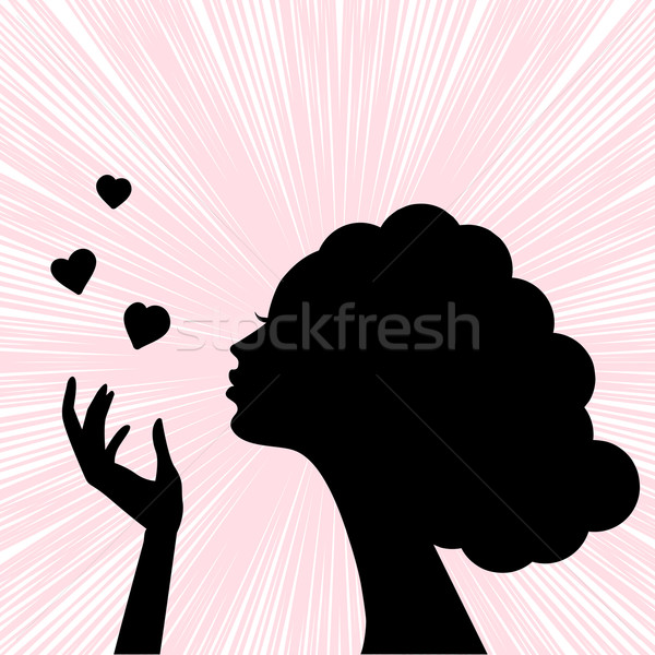 600x600 Beautiful Woman Face Silhouette With Heart Kiss Vector
