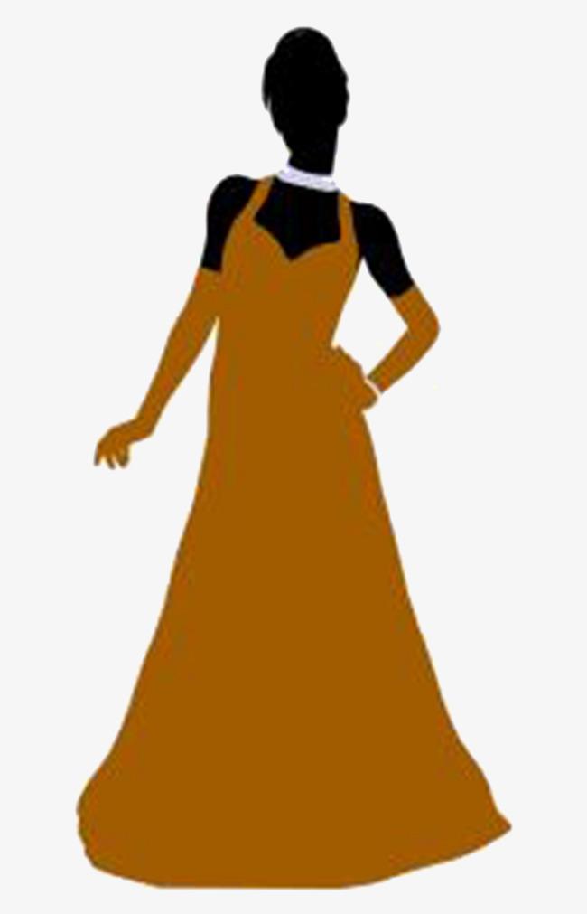 650x1011 Silhouette Of A Woman Wearing A Dress, Dress, Woman, Sketch Png