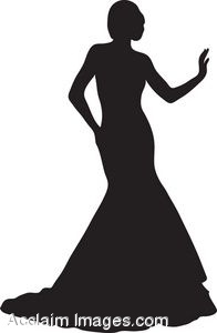 196x300 Clip Art Of The Silhouette Of A Woman Wearing An Evening Gown
