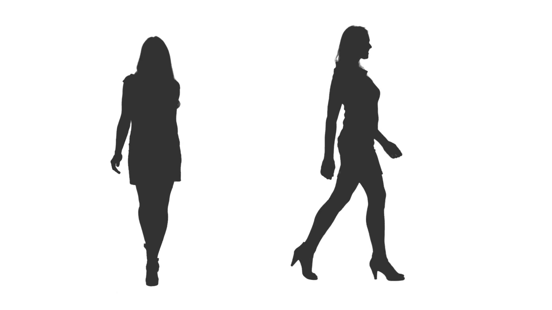 1920x1080 Female Silhouette Walking In Dress And High Heels, 2 In 1, Alpha