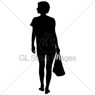 325x325 Black Silhouette Woman Standing, People On White Background Gl