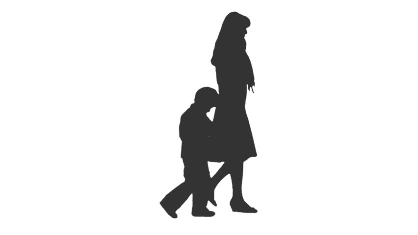 852x480 Silhouette Of Boy And Girl On White Background. Stock Footage