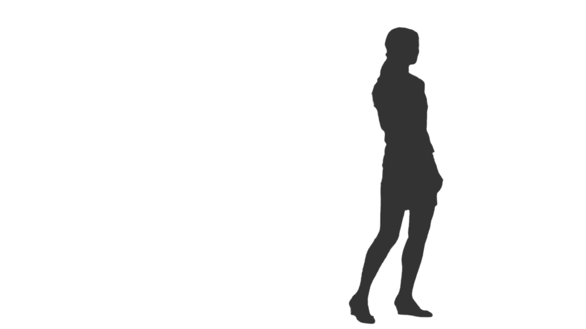 1920x1080 Silhouette Of A Girl Walking Around And Watching Something. Back