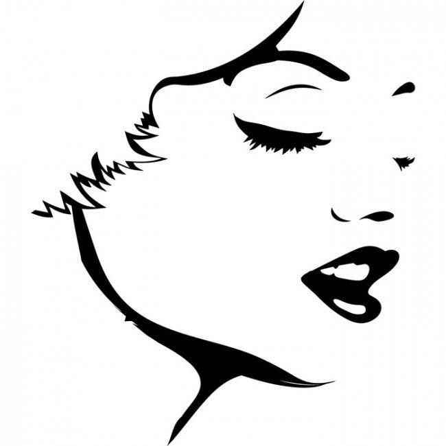 650x650 Female Face Outline Wall Sticker Female Wall Art Interesting