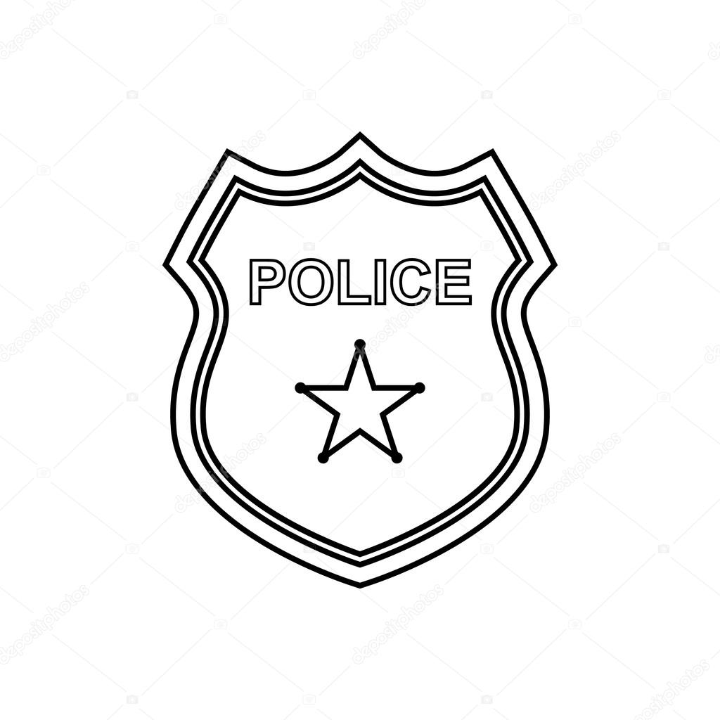 1024x1024 Simplistic Police Badge Outline Icon Linear Vector Illustration