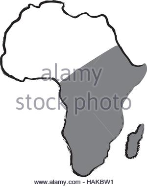 300x382 Map Of Africa Vector Illustration, Scribble Sketch Of Africa Stock