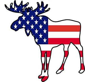 355x341 Moose Silhouette With American Flag Vinyl Decal