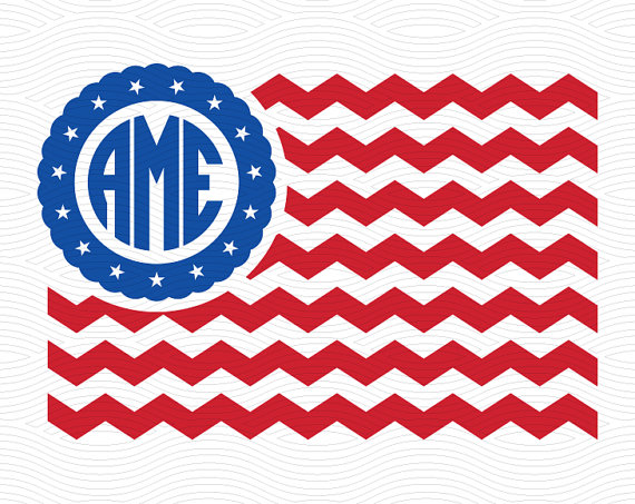 570x453 Chevron American Flag Monogram Frame Svg Eps Dxf Studio3 Usa