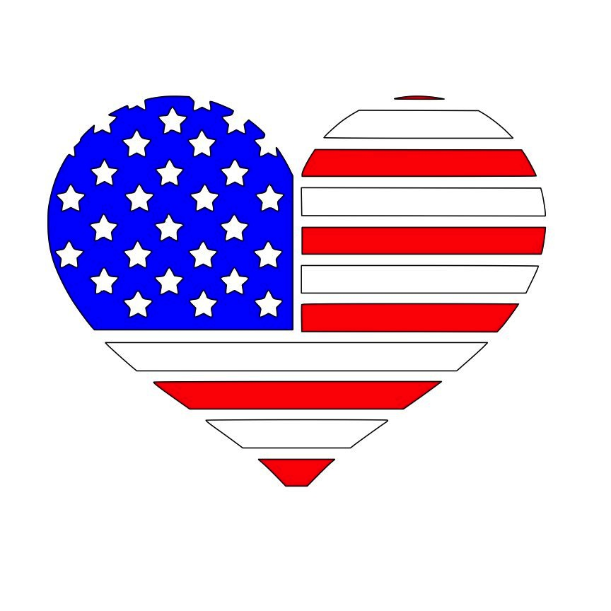 864x864 Heart American Flag Svg File Download Cricut Images For Upload
