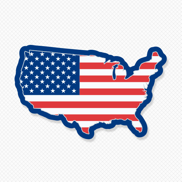 600x600 Usa Map Wall Decal American Flag Wall Decal Sticker Genius