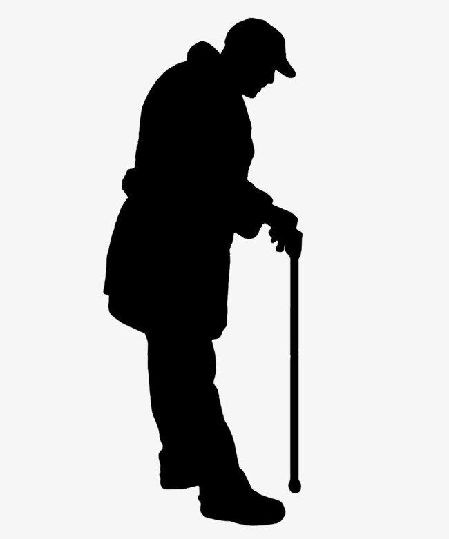 650x781 Lonely Old Man On Crutches Silhouette, Crutches Silhouette, Sketch