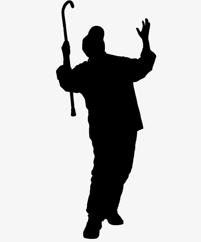 650x781 For Fast Start Laughing Old Man On Crutches Silhouette, Sketch