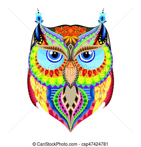 450x470 Colorful Owl Silhouette. Big Owl Silhouette With Different