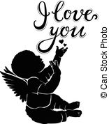 156x178 Baby Angel Silhouette Outline Graphic Logo Icon Vector Vector