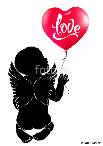 354x500 Silhouette Baby Angel With Red Heart Balloon Love. Stock Image