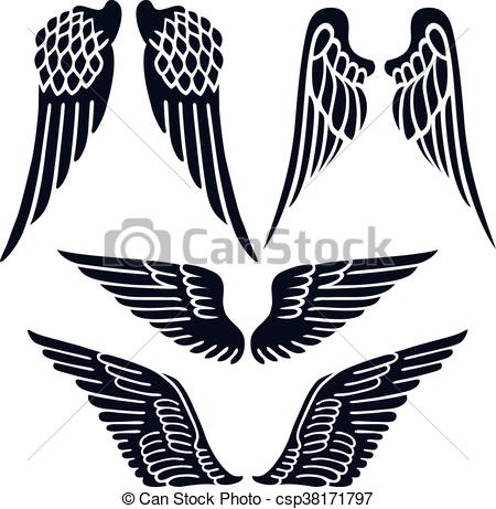 450x461 Angel Wings Set Silhouette Isolated On Background, Vector Eps