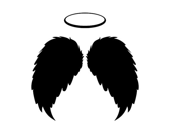 570x440 Angel Wings Amp Halo, Black Feathers Flying Instant Download