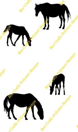 309x520 Bee Crafty Art Stamps ~ Silhouette Animals Ponies, Bee Crafty Art