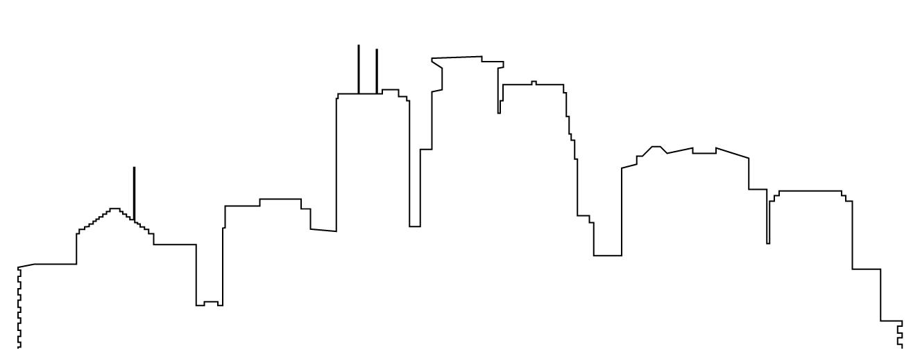 1326x504 Skyline Clipart Outline
